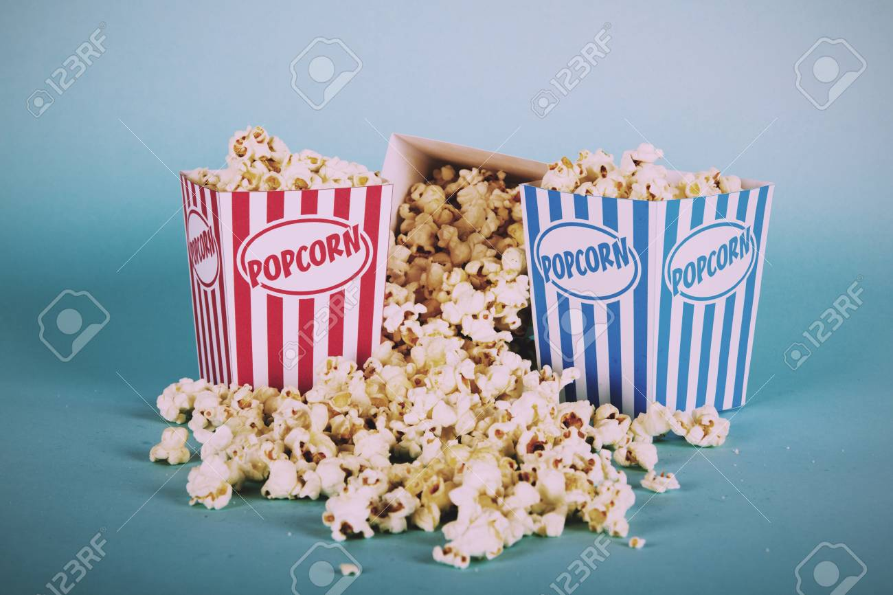 Bucket Of Popcorn Against A Blue Background Vintage Retro Filter Stock Photo Picture And Royalty Free Image Image 63444525