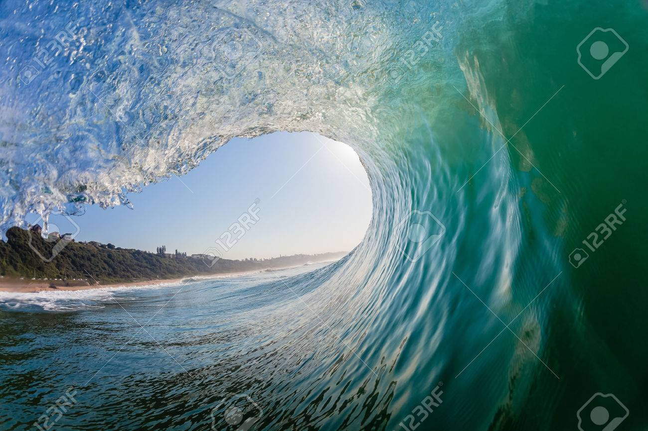 Swimming surfing view of hollow crashing ocean wave inside vortex looking out - 24712799