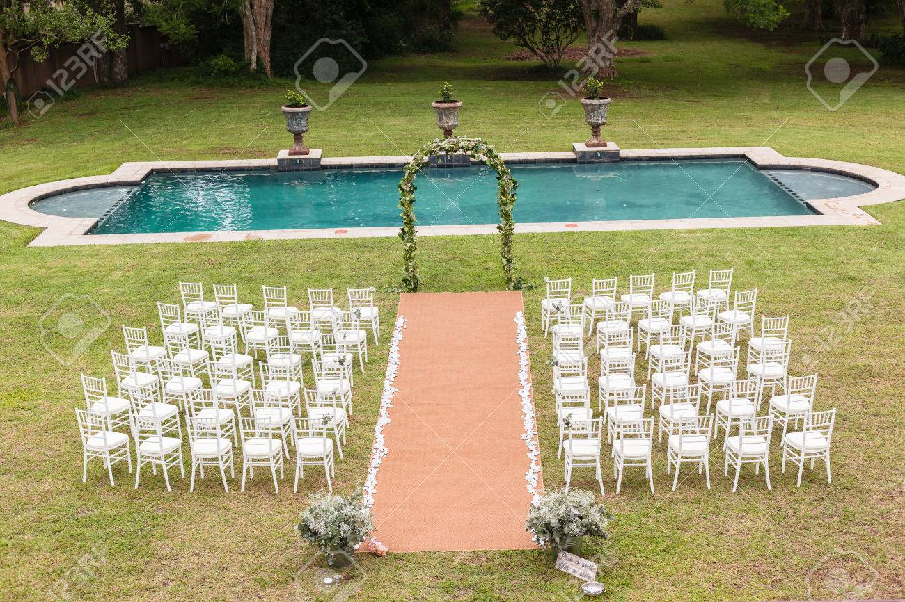 Superieur Stock Photo   Wedding Decor Chairs Ceremony Lawn Pool Landscape With Guests  Lunch Dinner Table Settings On Porch Verandag
