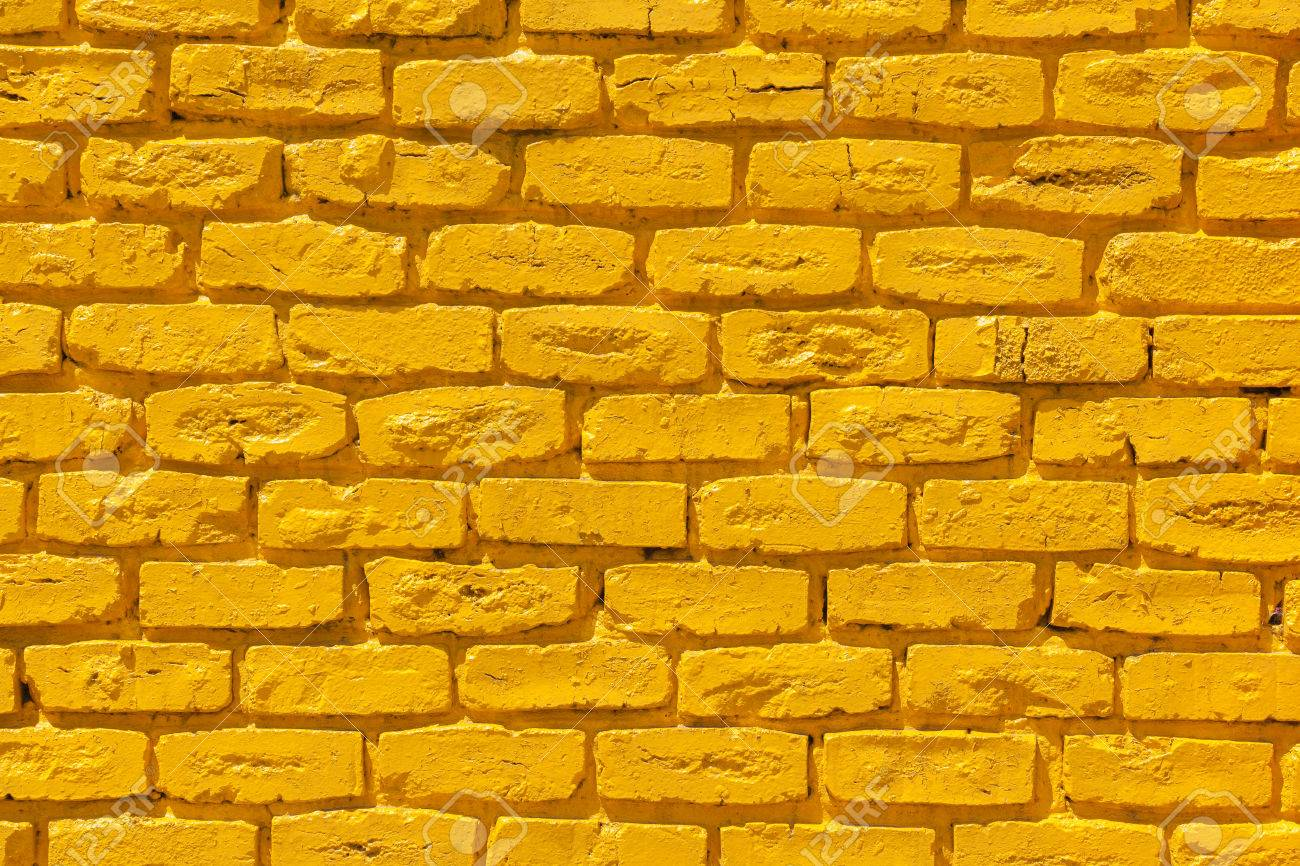 Brick Wall Painted Yellow Outside Decor Texture Detail Color.. Stock ...