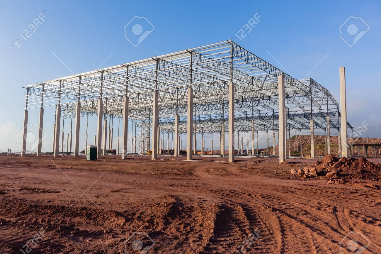 Construction Building New Large Warehouse Factory Halfway Concrete