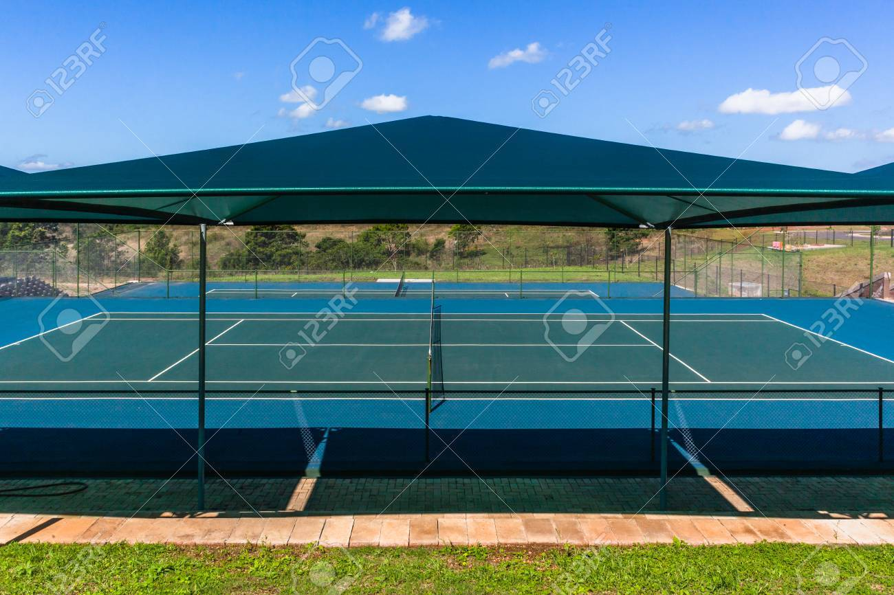 Tennis Courts Outdoors Summer Spectator Seating With Shade Awnings