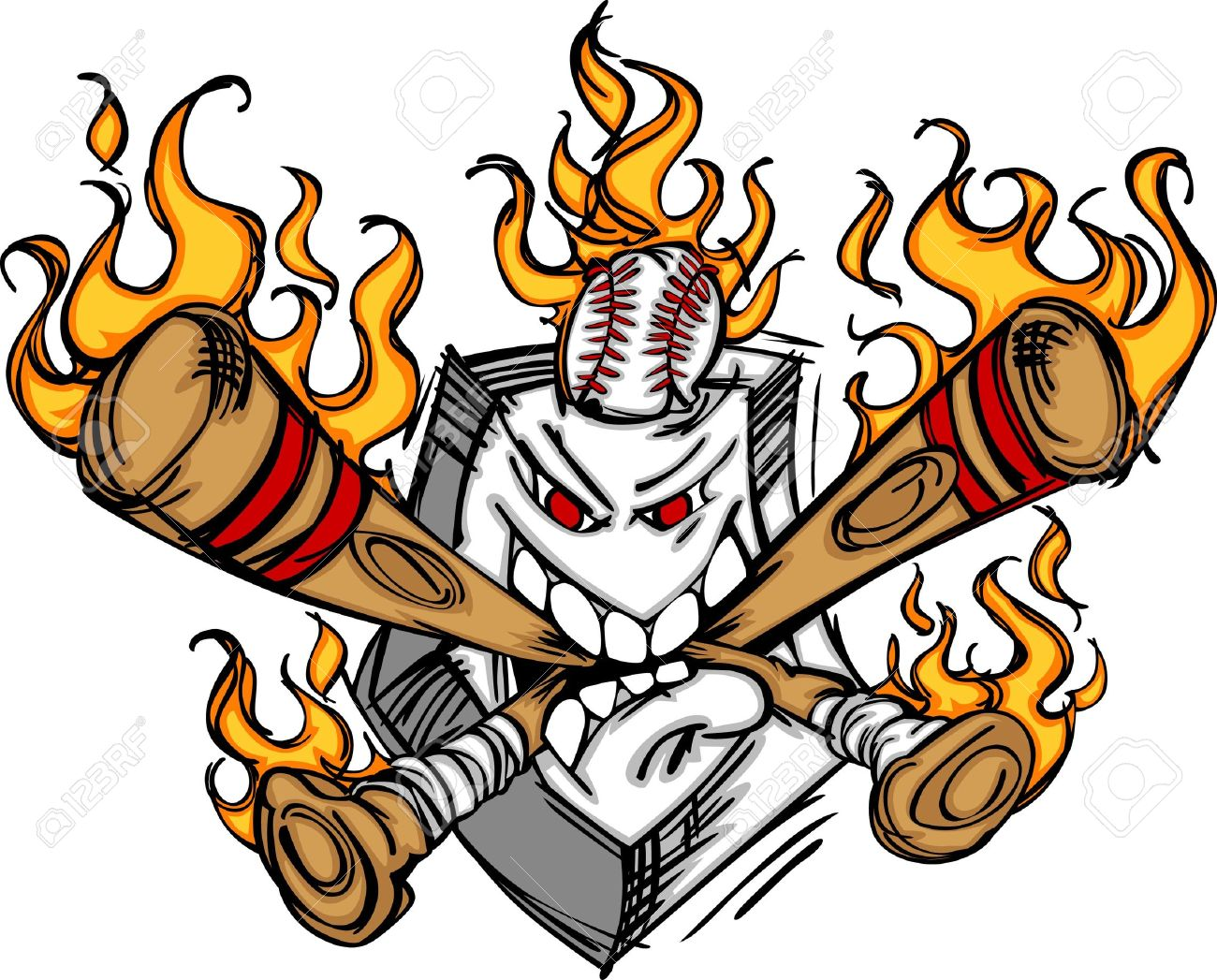 softball baseball plate and bats flaming cartoon logo royalty free rh 123rf com Softball Backgrounds Softball Logo Designs