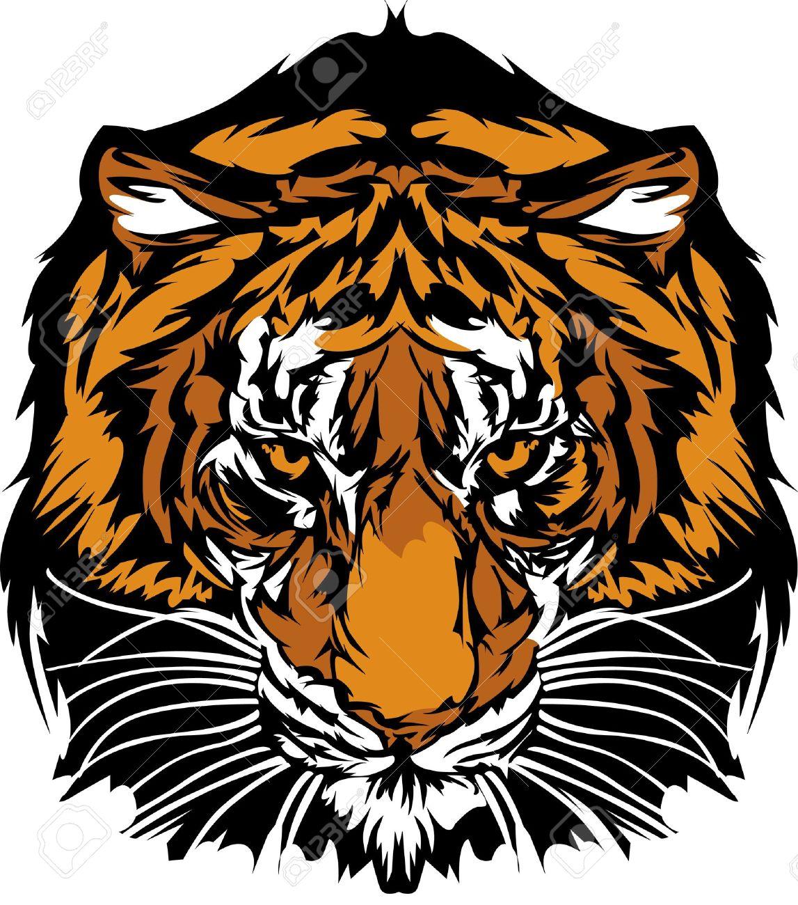 Populaire Logo De Mascotte Graphique De Tête De Tigre Clip Art Libres De  YY38