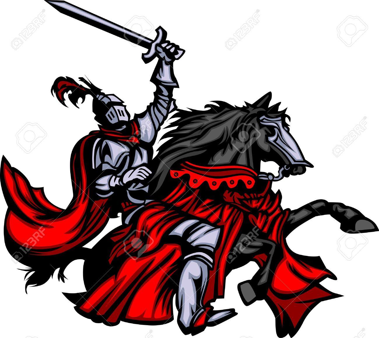 Knight Mascot on Horse Stock Vector - 10282026