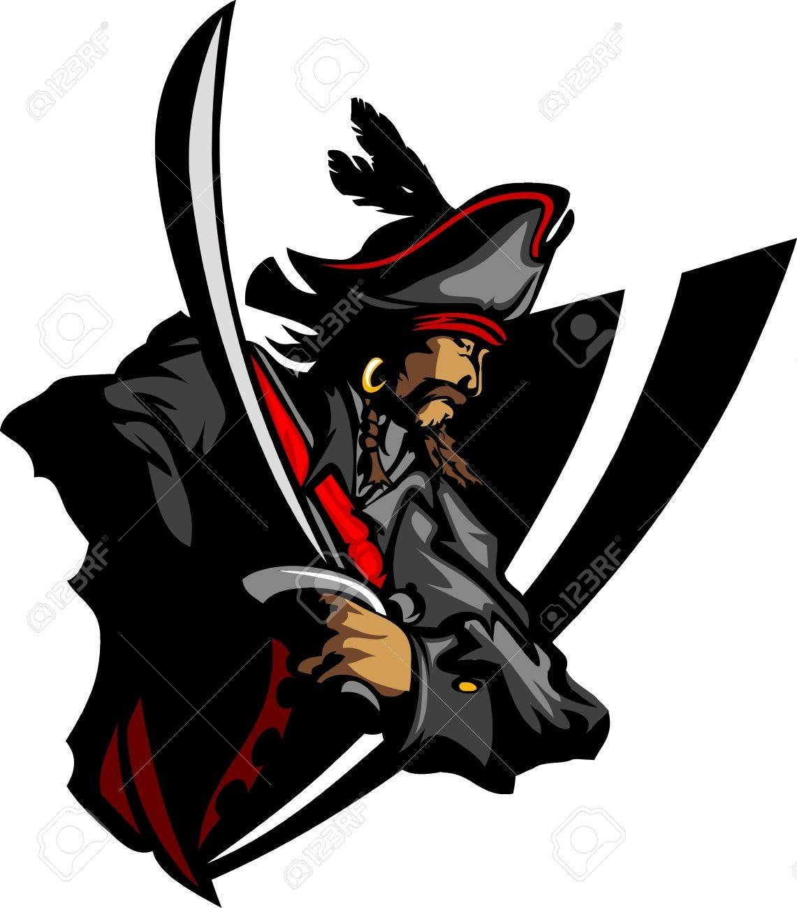 Pirate Mascot with Sword and Hat Graphic Illustration Stock Vector - 10303495