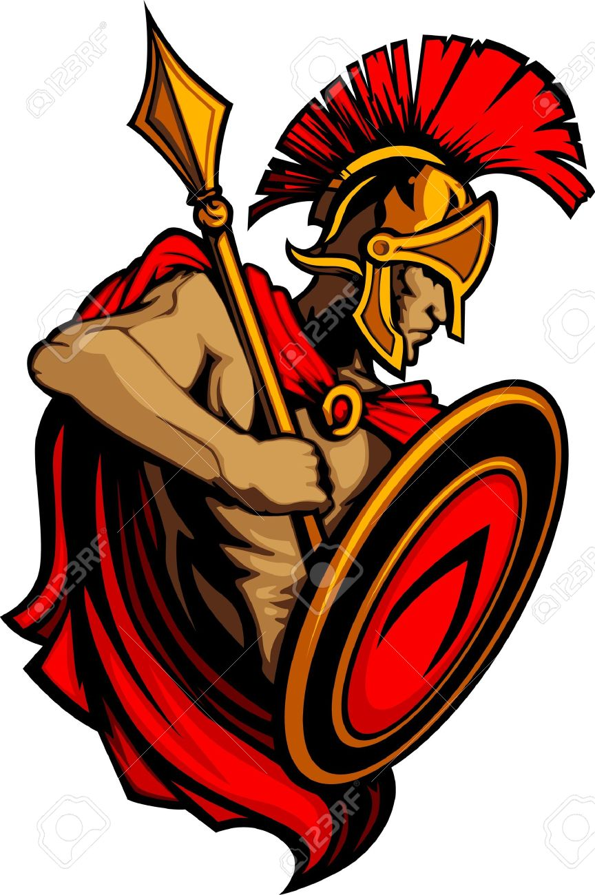 Spartan Trojan Mascot with Spear and Shield Stock Vector - 10303496