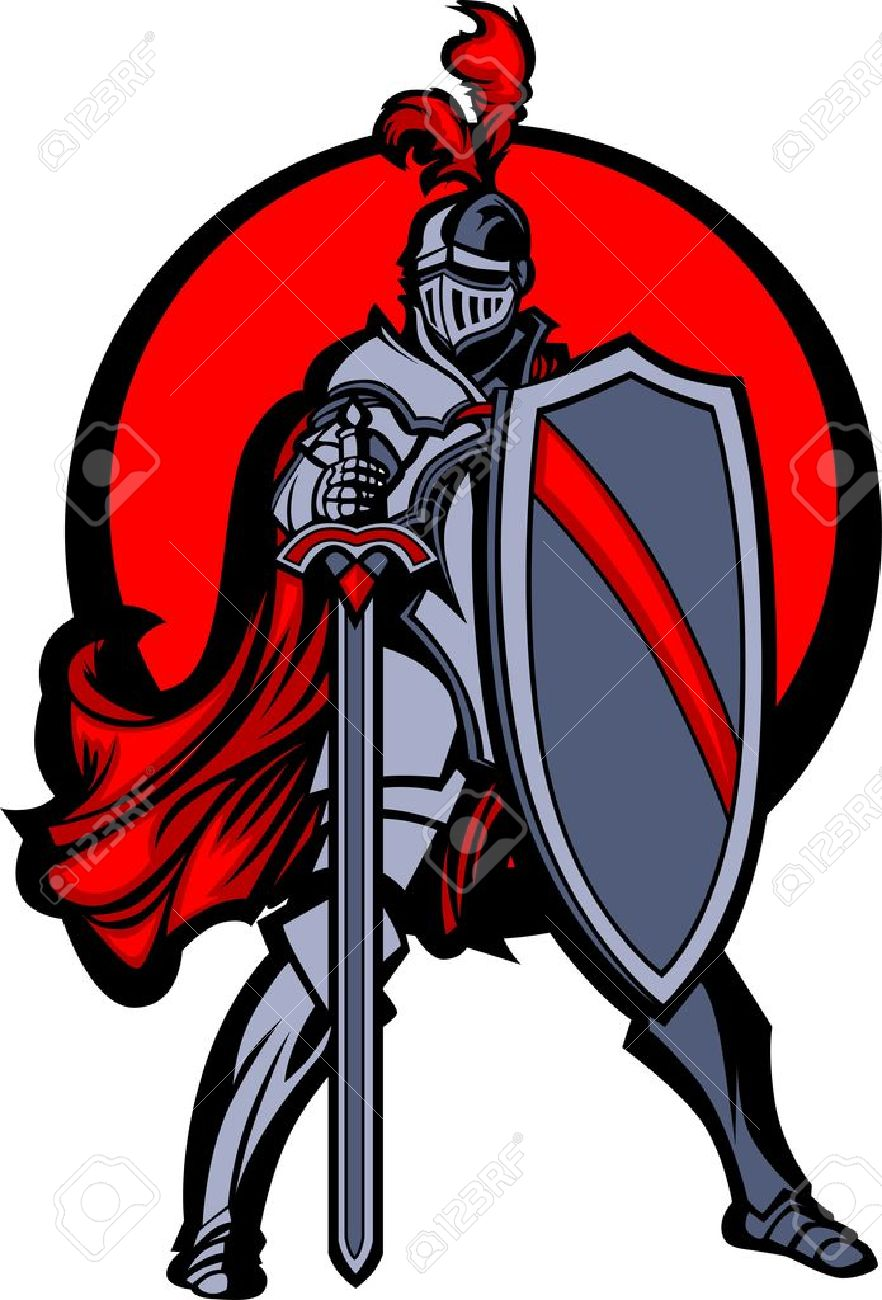 Knight Mascot with Sword and Shield - 10303497