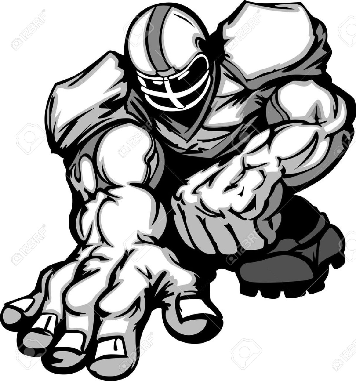 football player lineman cartoon stock vector 10343512