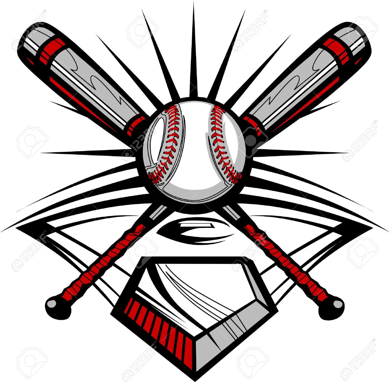 Baseball Or Softball Crossed Bats With Ball Image Template Royalty ...