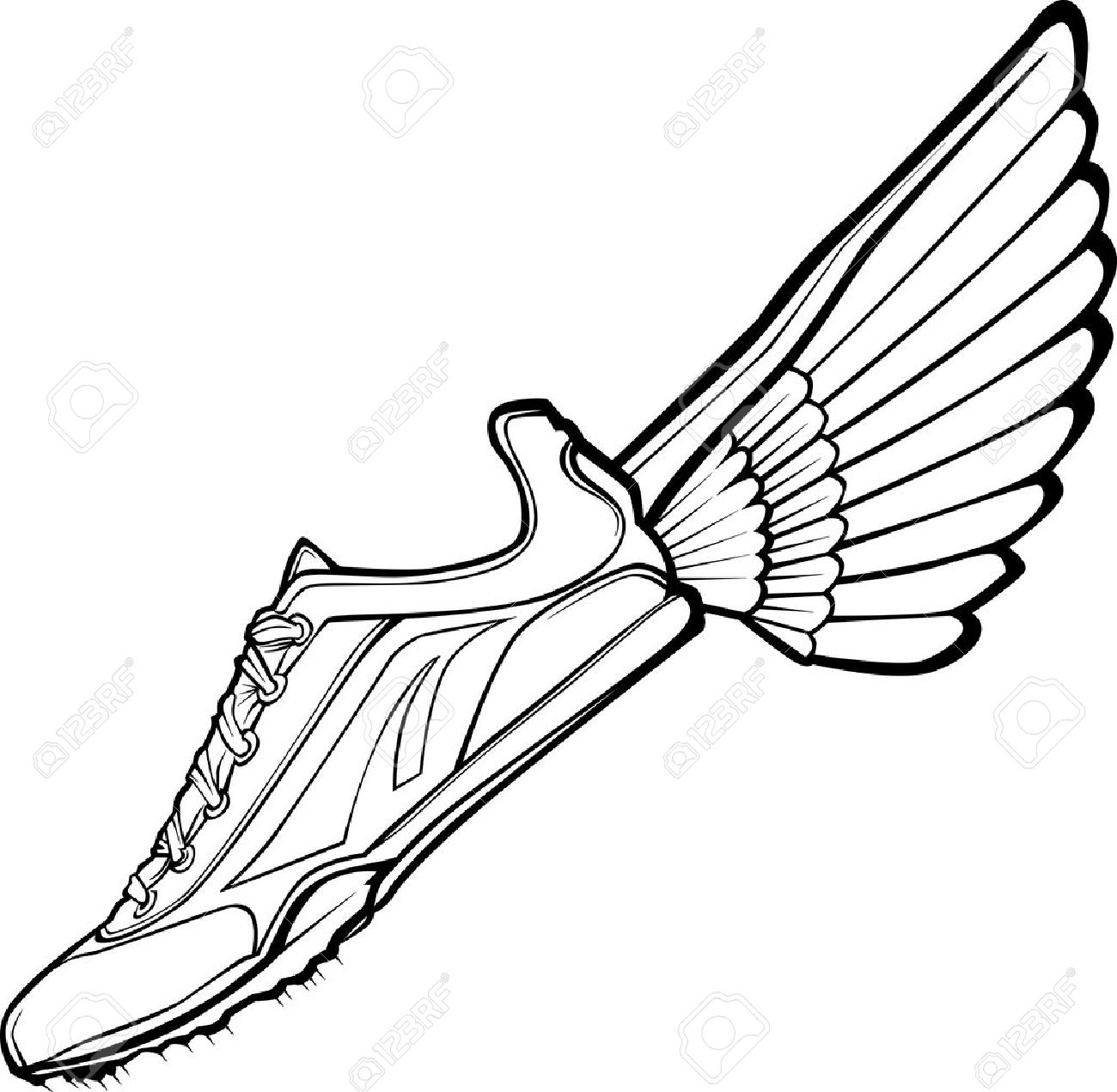 Track Shoe with Wing Illustration - 10419998