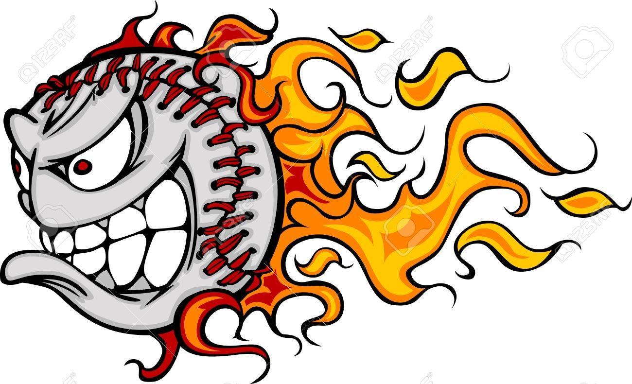 flaming baseball or softball face royalty free cliparts vectors rh 123rf com Flaming Baseball Wallpaper Flaming Baseball Vector