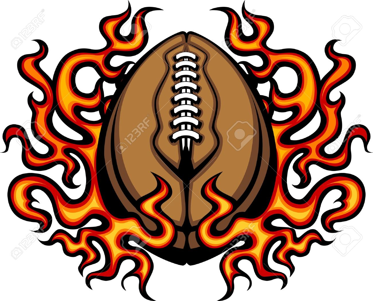 American Football Template with Flames Stock Vector - 10457696