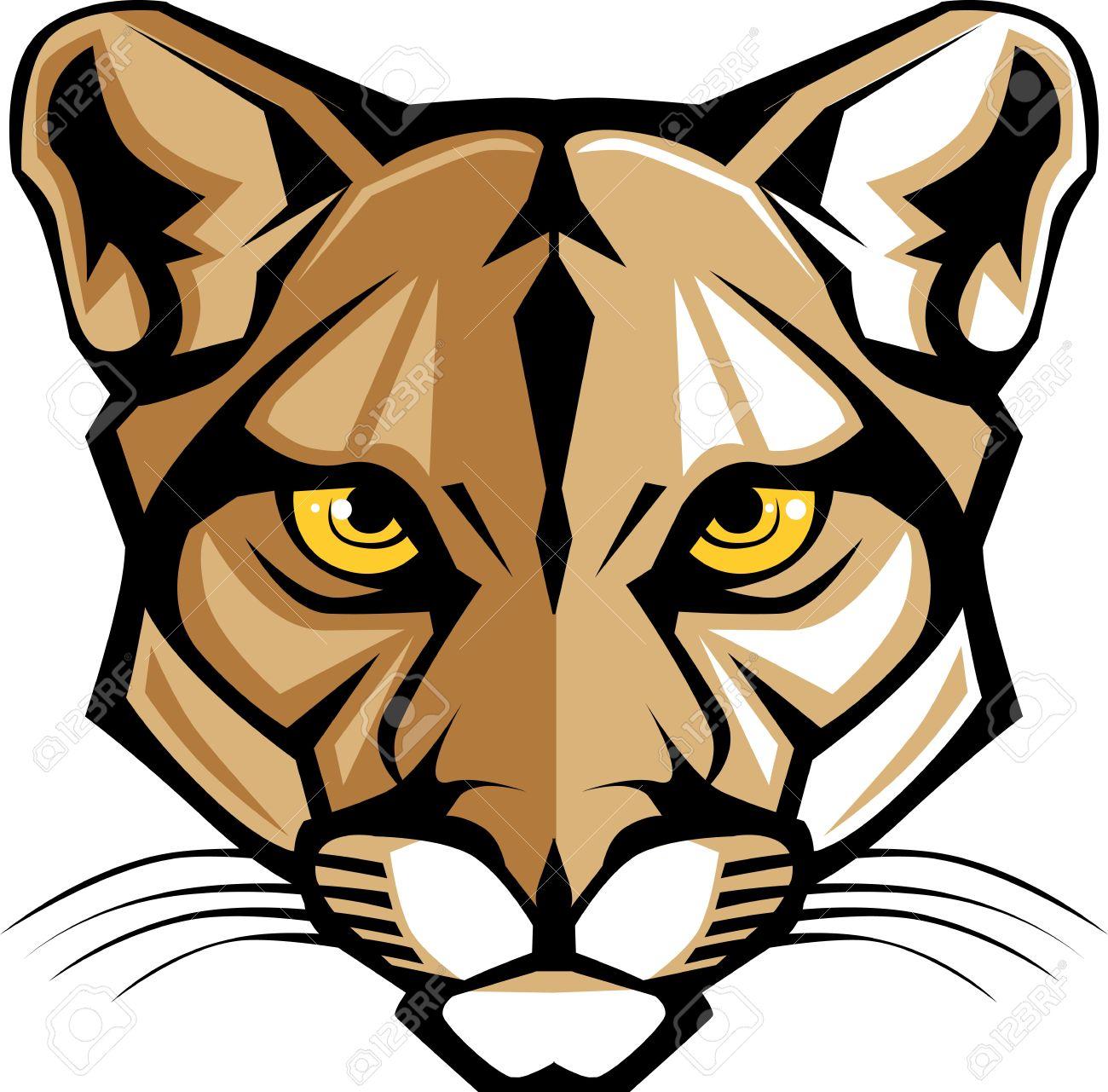 cougar panther mascot head graphic royalty free cliparts vectors rh 123rf com Cougar School Mascot Cougar Clip Art