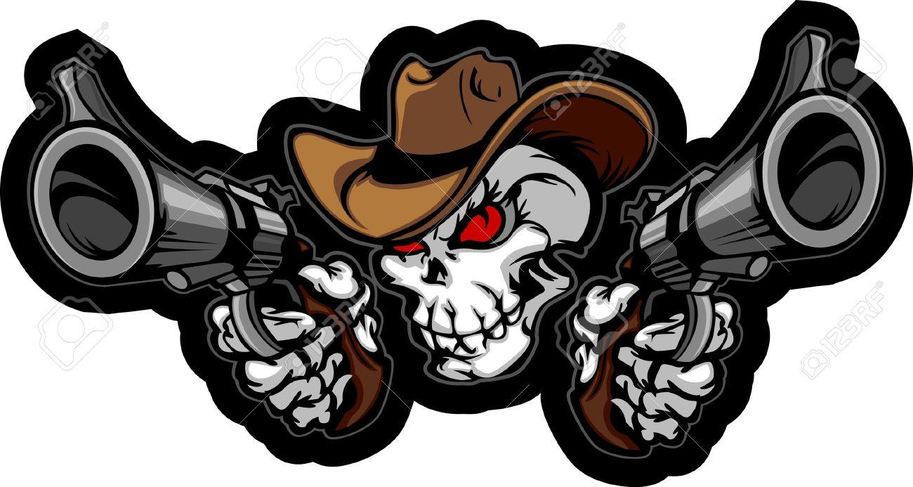Skull Cowboy Aiming Guns Outlaw Cowboy Skull