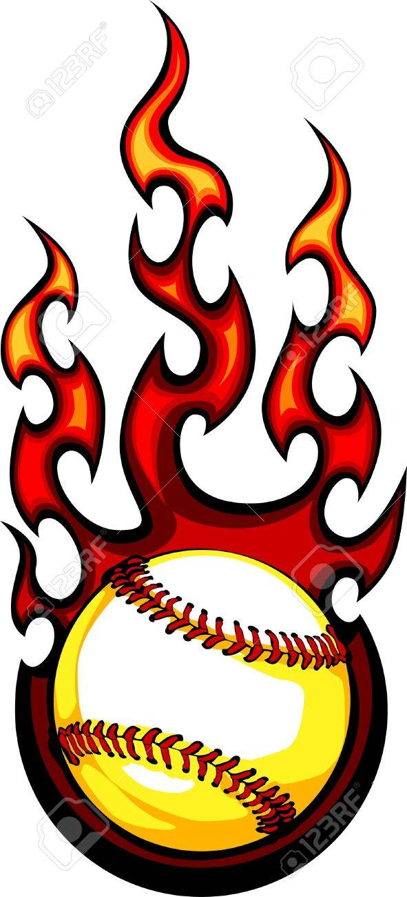 Baseball with Flames Vector Image Stock Vector - 10578144