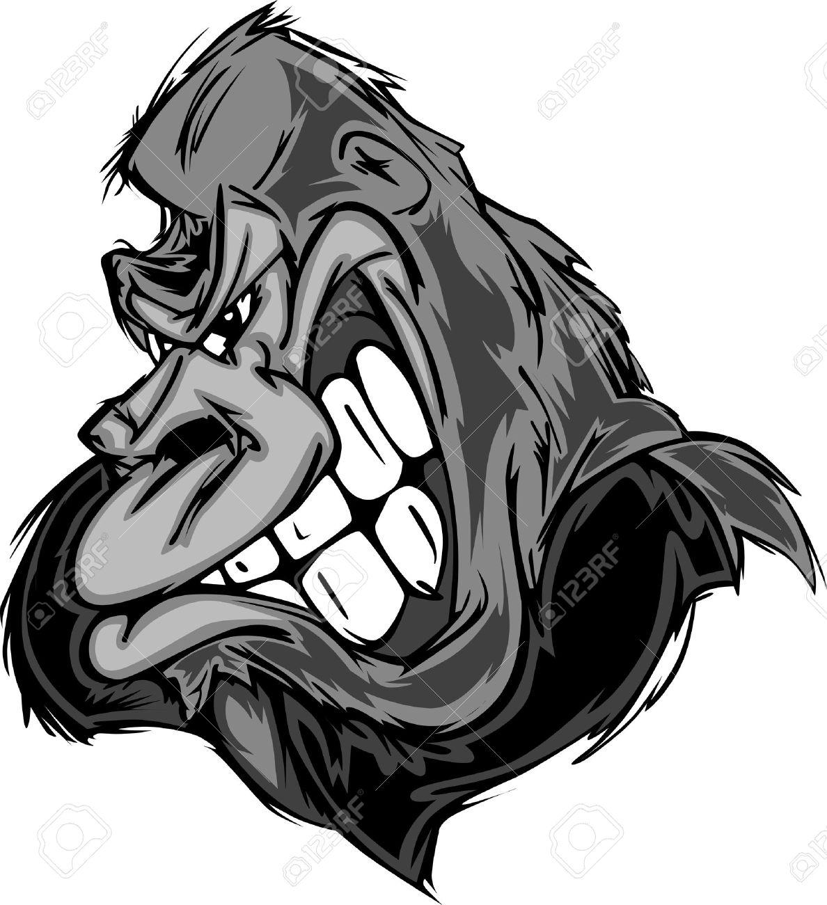Happy Cartoon Gorilla Face Gorilla or Ape Mascot Cartoon