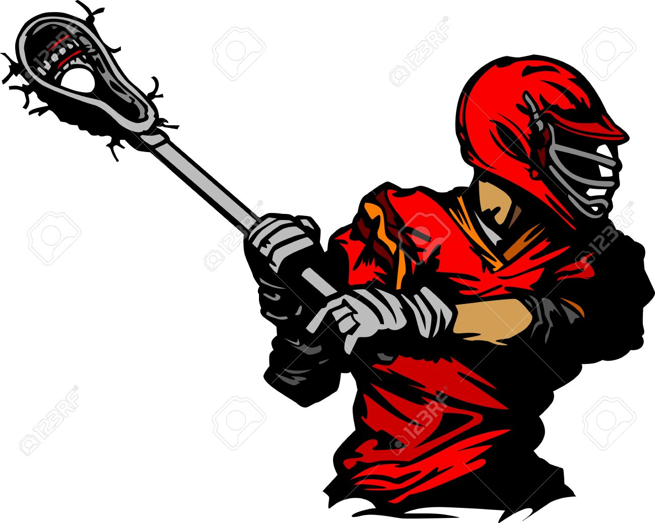 lacrosse player cradling ball illustration royalty free cliparts rh 123rf com Lacrosse Stick Drawing Clip Art of Lacrosse Equipment