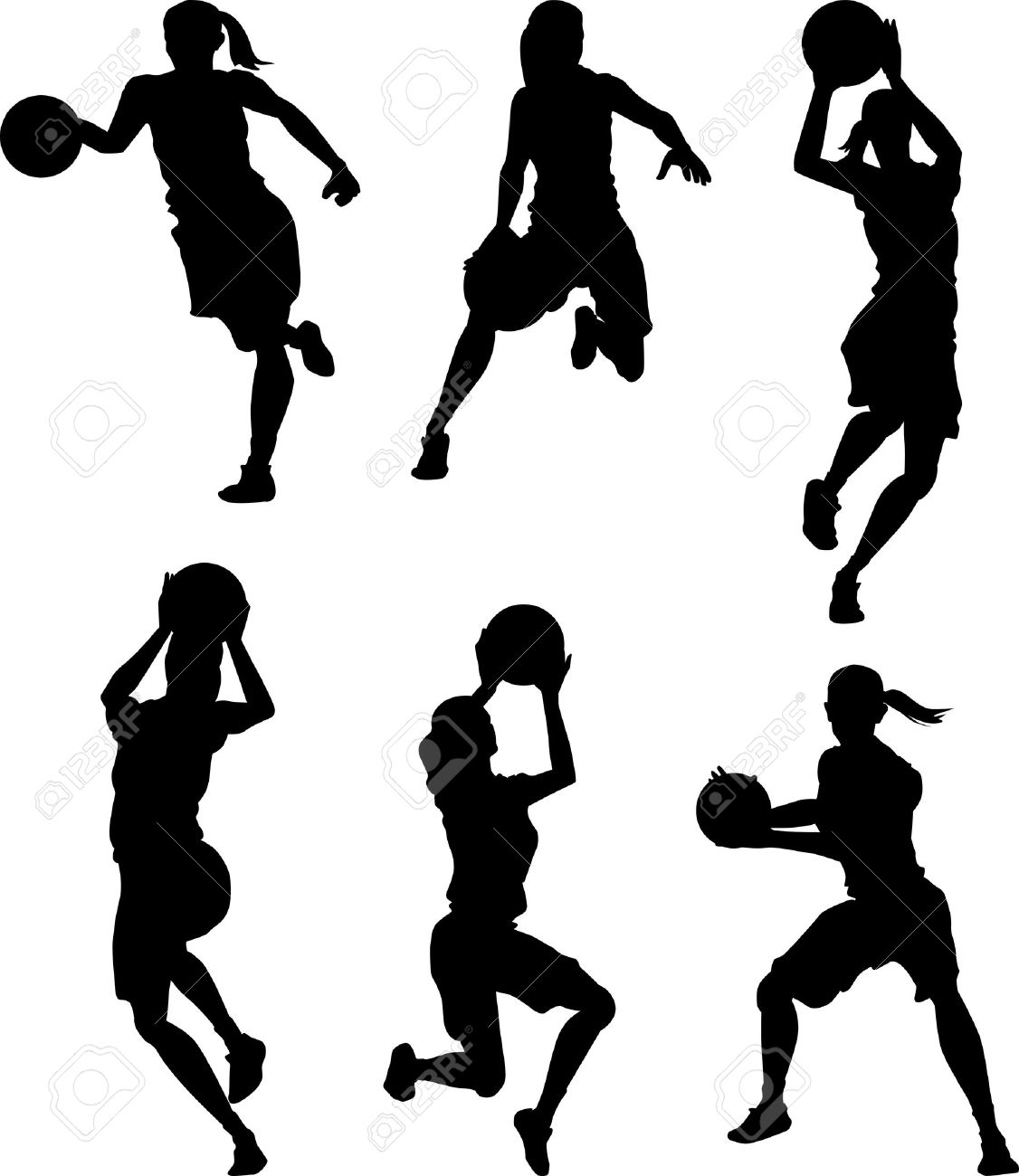 basketball female women silhouettes royalty free cliparts vectors rh 123rf com girl basketball silhouette vector basketball ball silhouette vector
