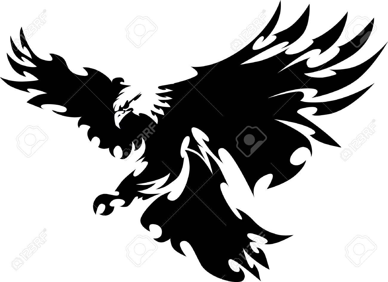 Eagle Mascot Flying Wings Design Royalty Free Cliparts, Vectors ...
