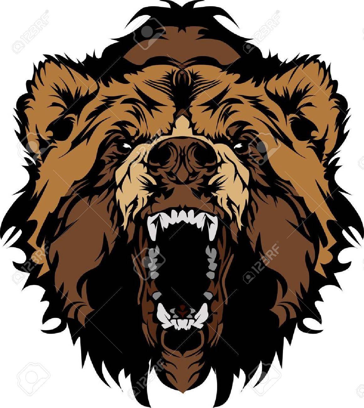 grizzly bear mascot head vector graphic royalty free cliparts