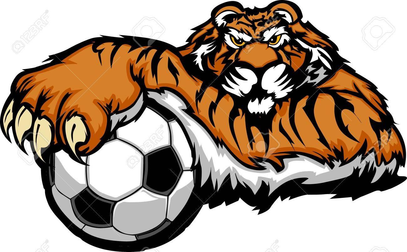 tiger mascot with soccer ball illustration royalty free cliparts rh 123rf com tiger cub mascot clipart tiger mascot clipart free
