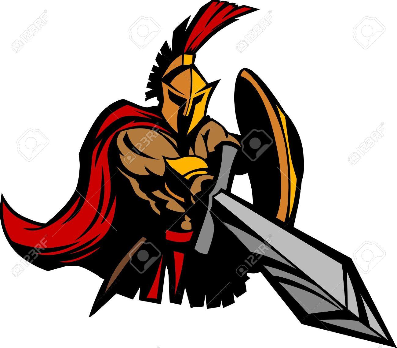 Spartan Trojan Mascot with Sword and Shield Standard-Bild - 10780332