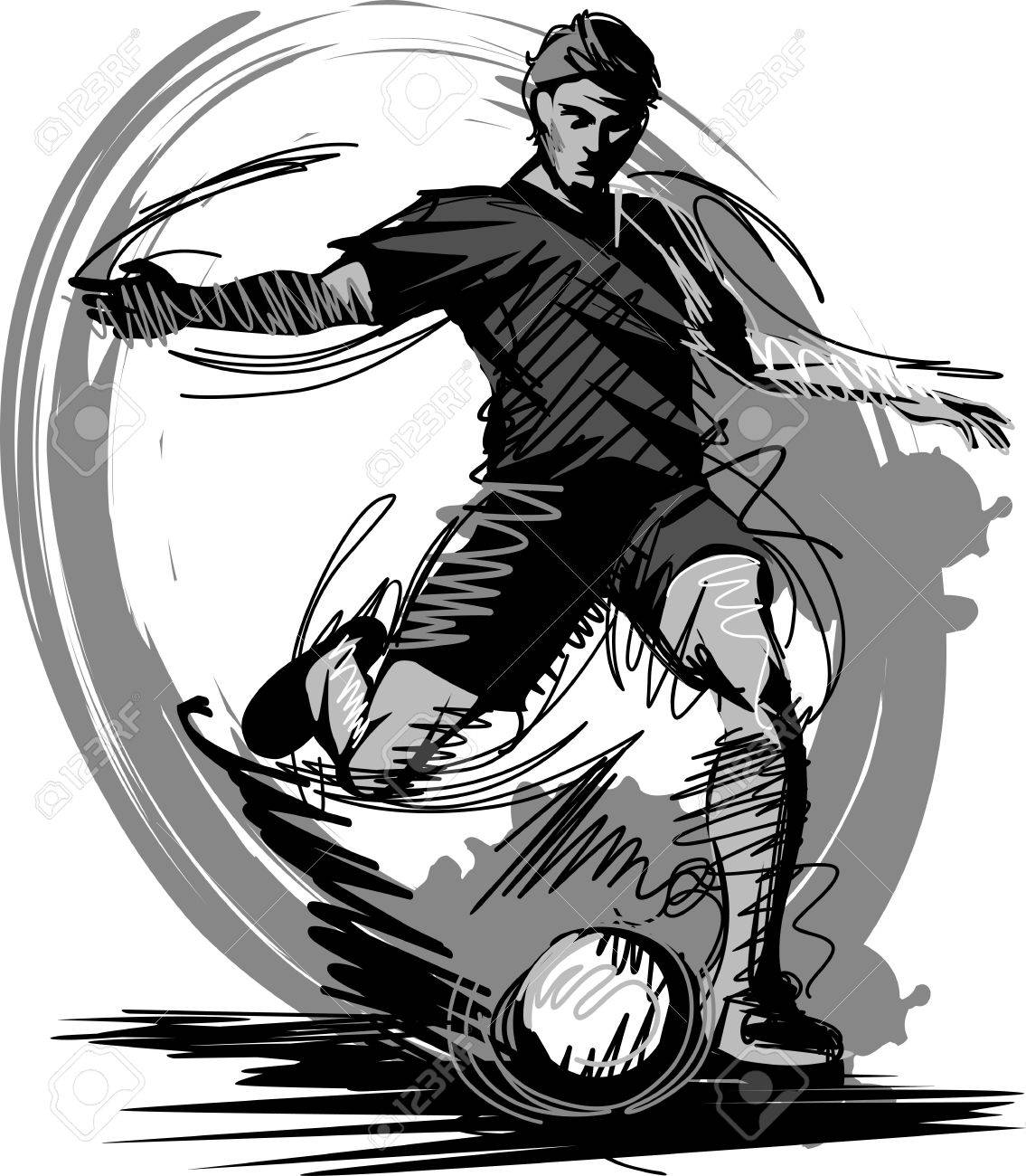 Soccer Player Kicking Ball Vector Illustration Stock Vector - 10801922