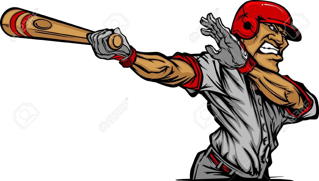 Baseball Cartoon of a Baseball Hitter Swinging Bat Stock Vector - 10901995