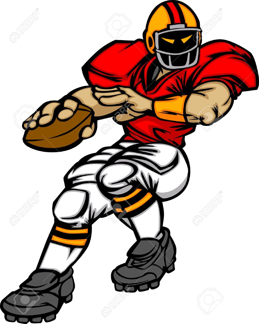 Cartoon Vector Silhouette Of A Cartoon Football Player Throwing