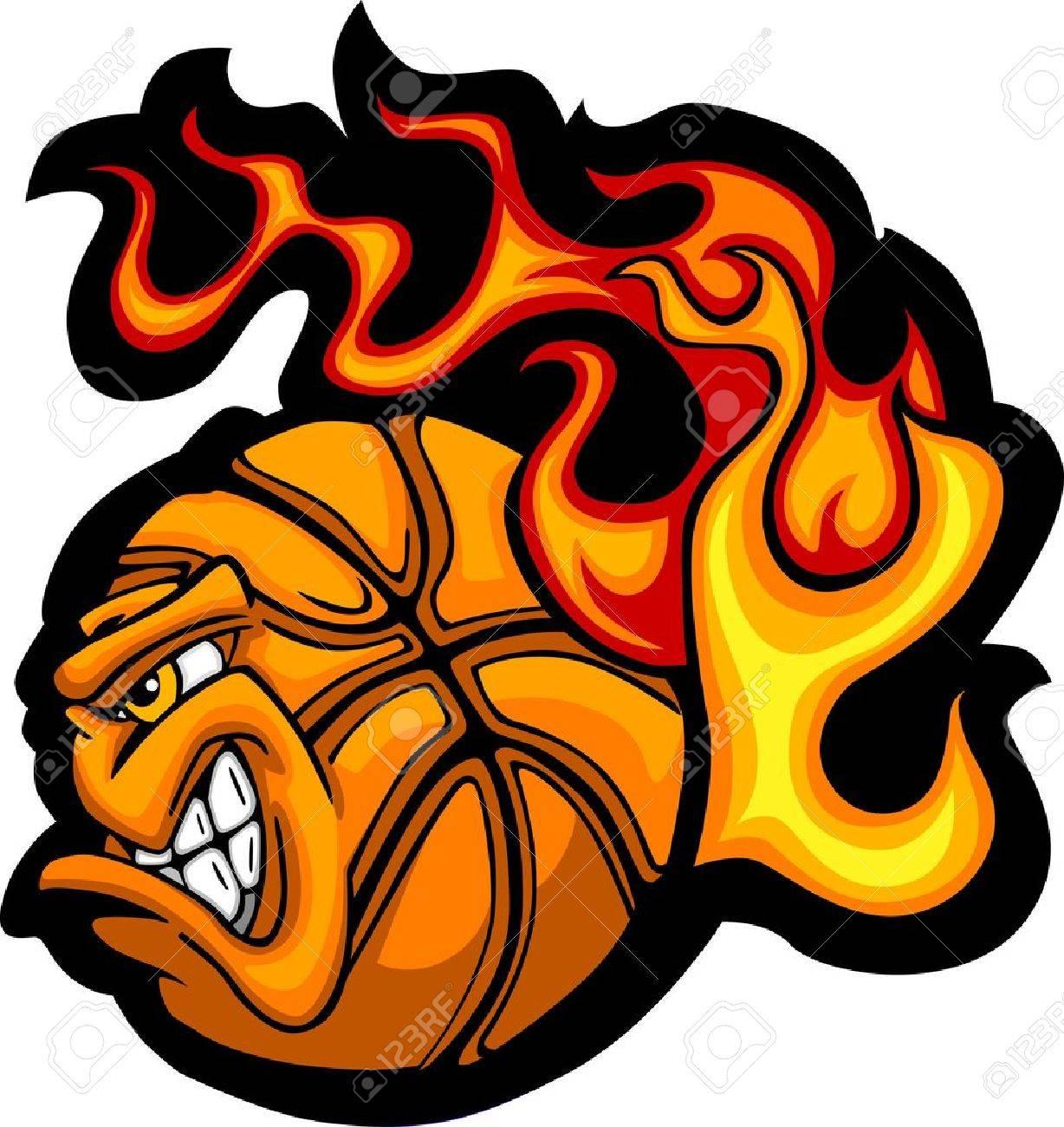 flaming basketball ball face vector illustration royalty free rh 123rf com  flaming basketball through hoop logo