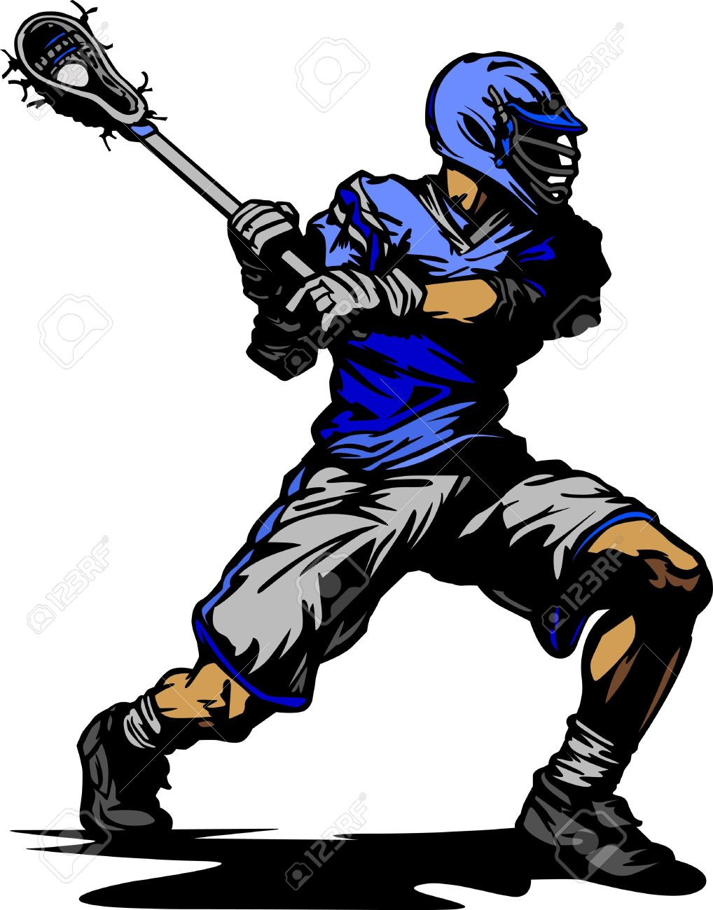 Lacrosse Player Cradling Ball Vector Illustration Stock Vector - 10901994