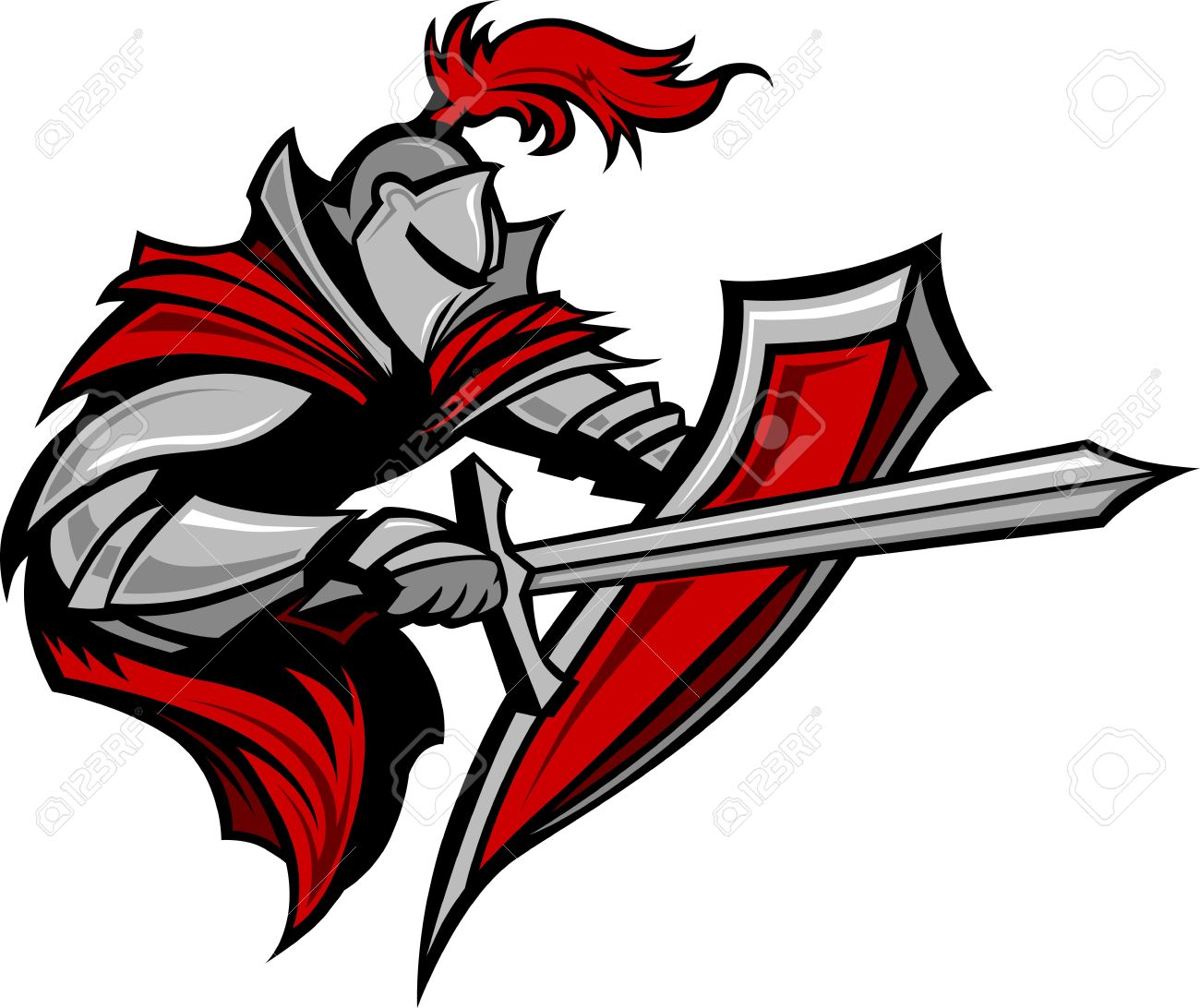 Warrior or Medieval Knight Vector Mascot wearing Armor - 10963541
