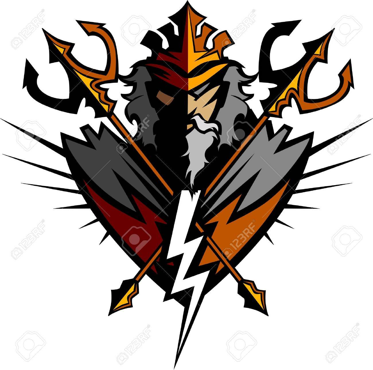 greek god tridents and lightning bolt graphic vector image royalty