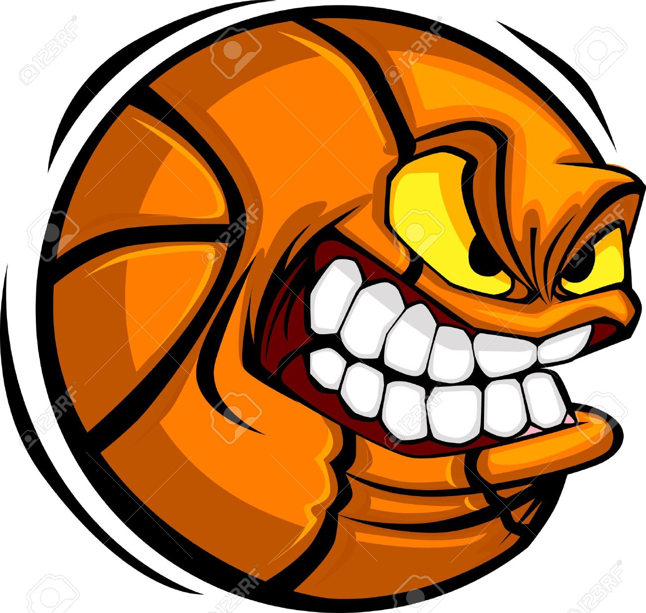 cartoon basketball with mean face royalty free cliparts vectors