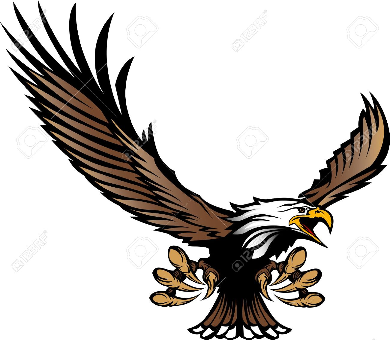Graphic Mascot Image of a Flying Eagle with wings and Talons Stock Vector - 11107638