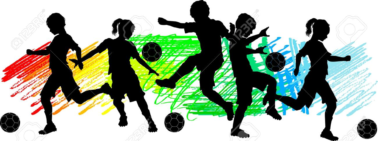 Soccer Players Silhouettes of Children - Boys and Girls Stock Vector - 11107642