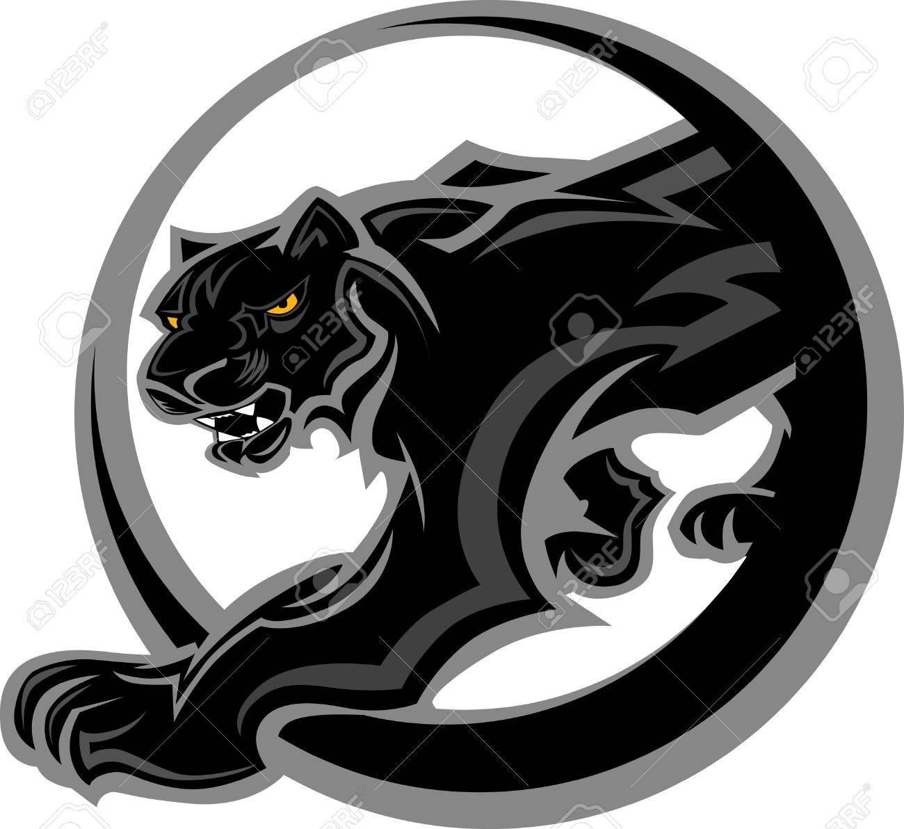 Graphic Mascot Vector Image of a Black Panther Body Stock Vector - 11375437