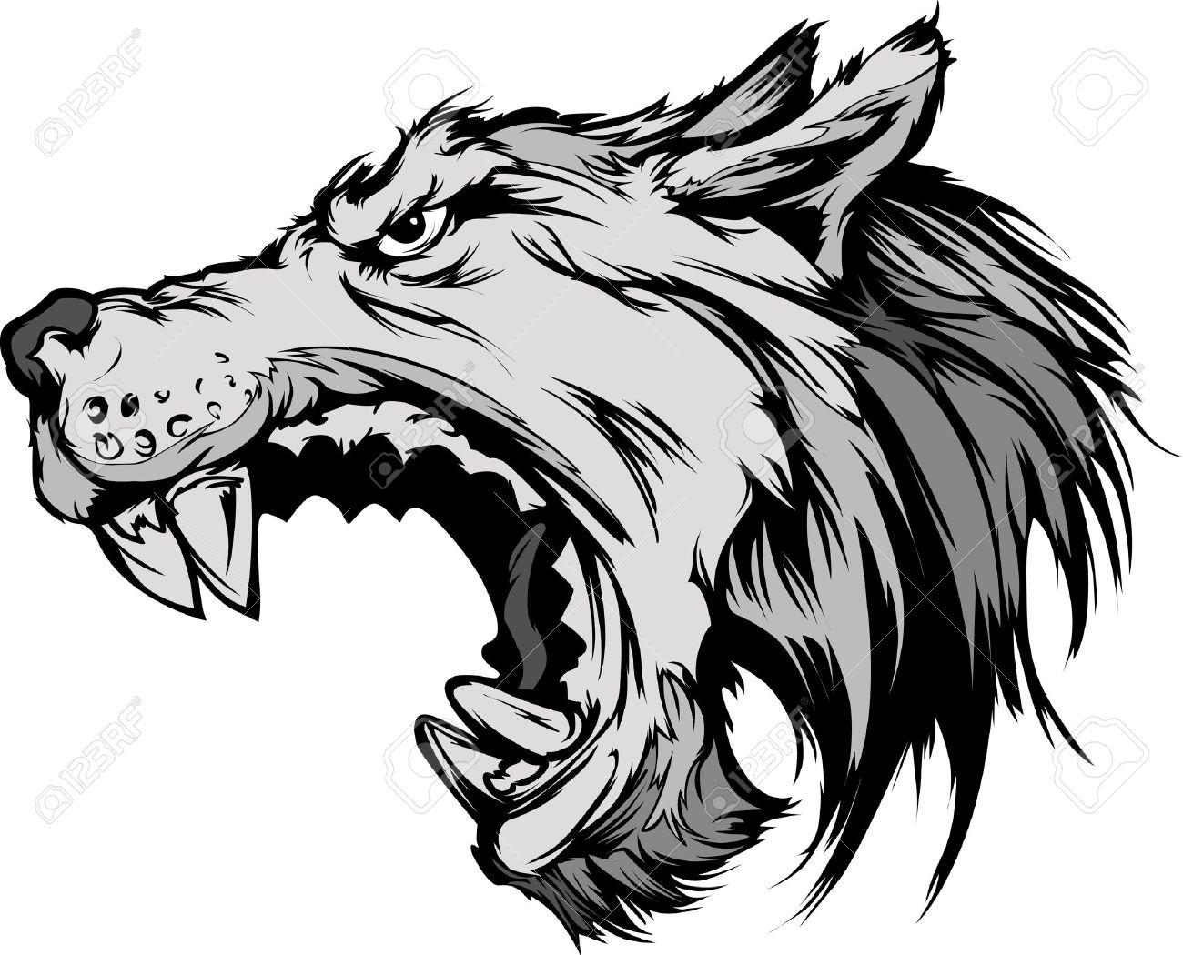 Growl: Cartoon Vector Mascot Image Of A Growling Grey Wolf Head