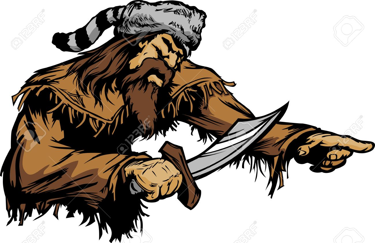 Frontiersman Pioneer Mascot Holding a Bowie Knife and wearing a Coonskin Hat Stock Vector - 11696899
