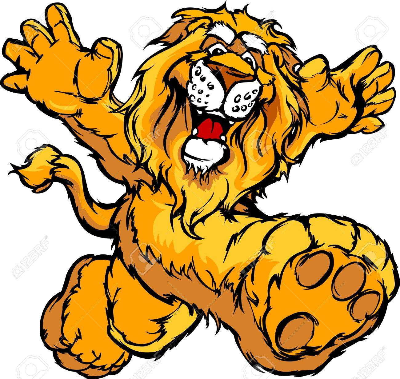 Smiling Lion Running with hands Mascot Illustration Stock Vector - 11696900