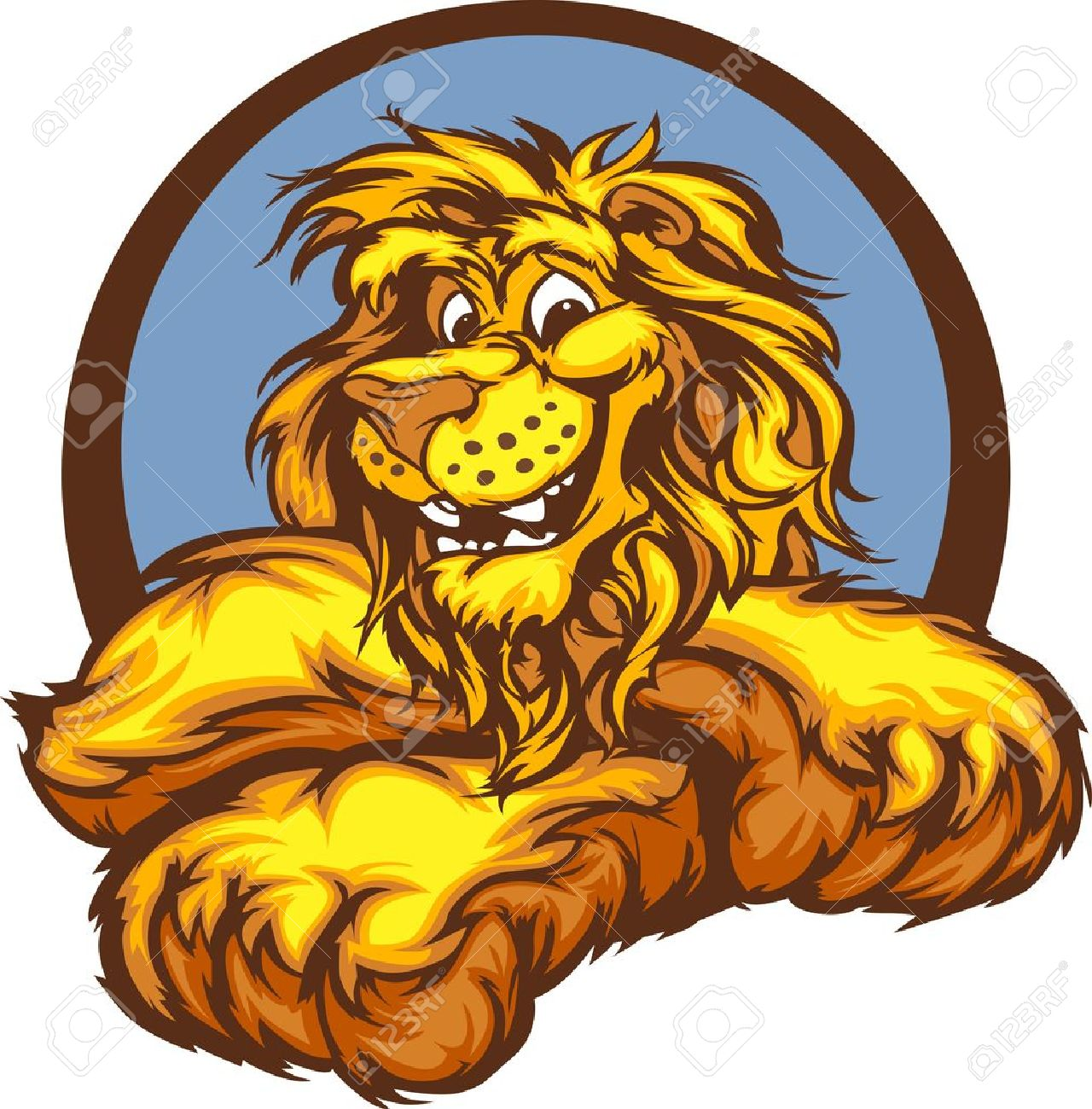 Lion with Paws Smiling Mascot Illustration Stock Vector - 11696904