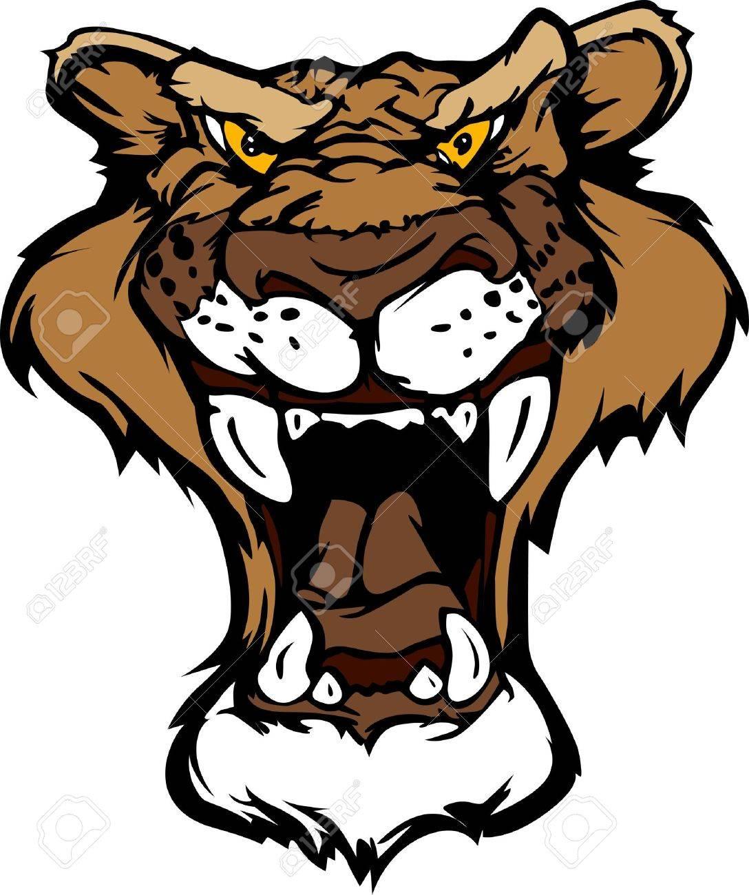 cartoon mascot image of a mountain lion head royalty free cliparts rh 123rf com Cartoon Bobcat Cartoon Coyote