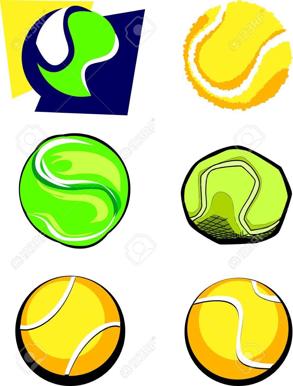 6 テニス ボール イラストのベクター グループ ロイヤリティフリー