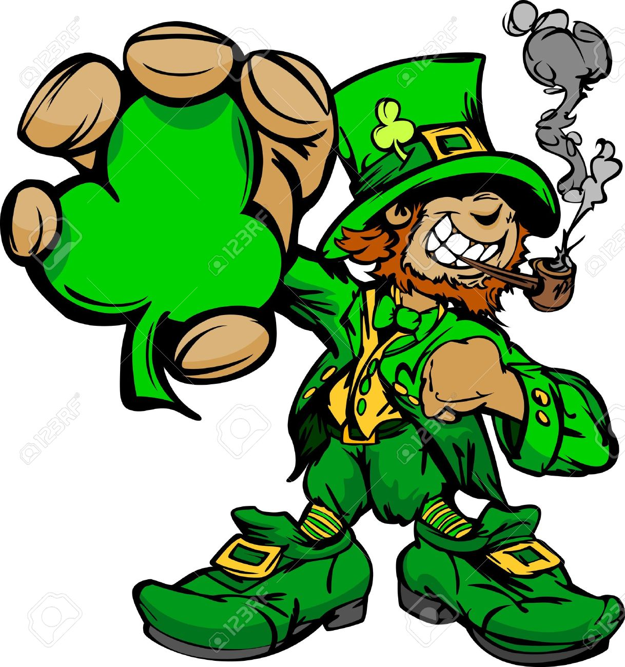 happy cartoon leprechaun on st patricks day holiday vector illustration stock vector 12050544 - Holiday Cartoons Free
