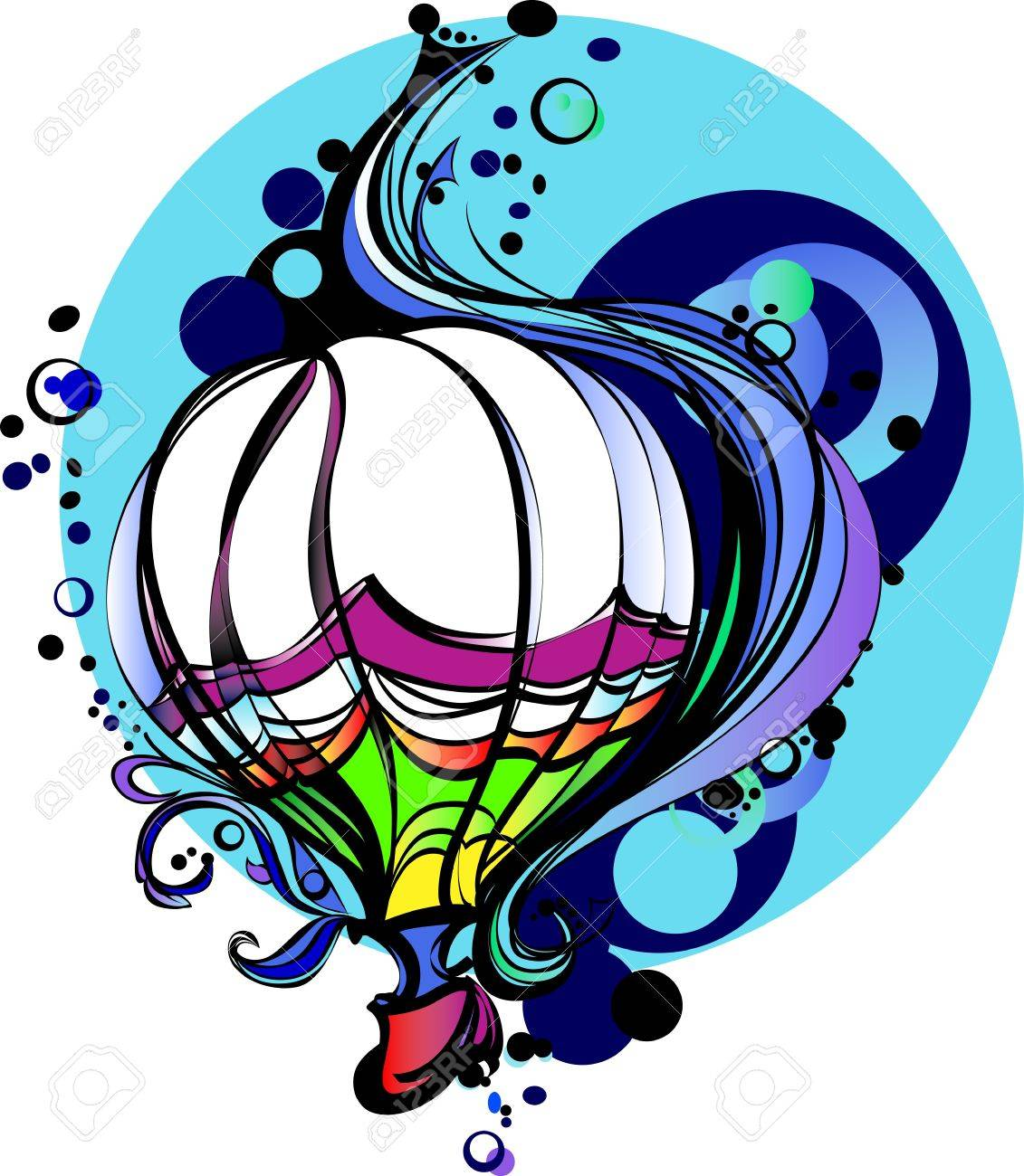 Colorful Flying Hot Air Balloon Graphic Vector Image Stock Vector - 12195975