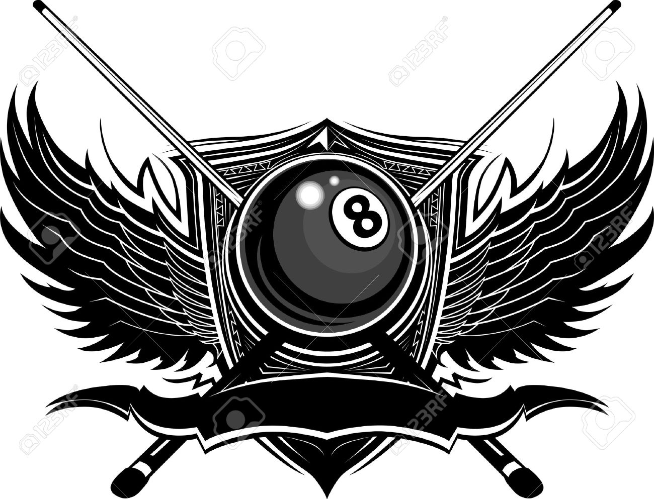 Billiards Eight Ball with Ornamental Wings Vector Template Stock Vector - 12483925