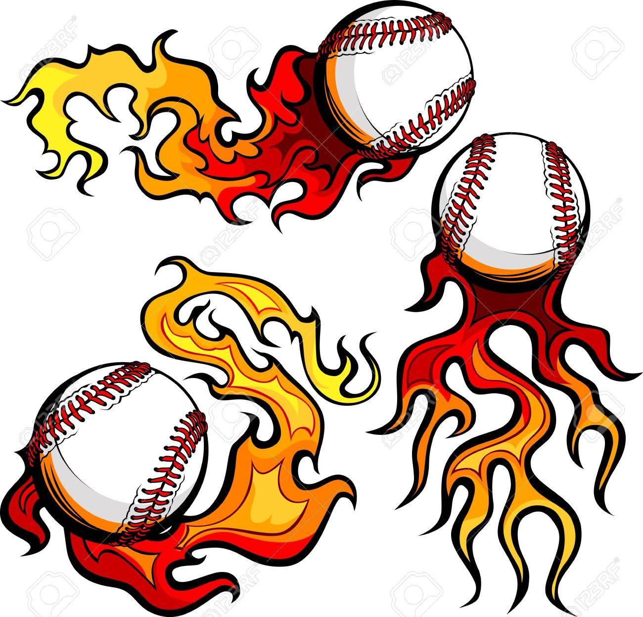 Graphic baseballs sport vector image with flames Stock Vector - 12498007