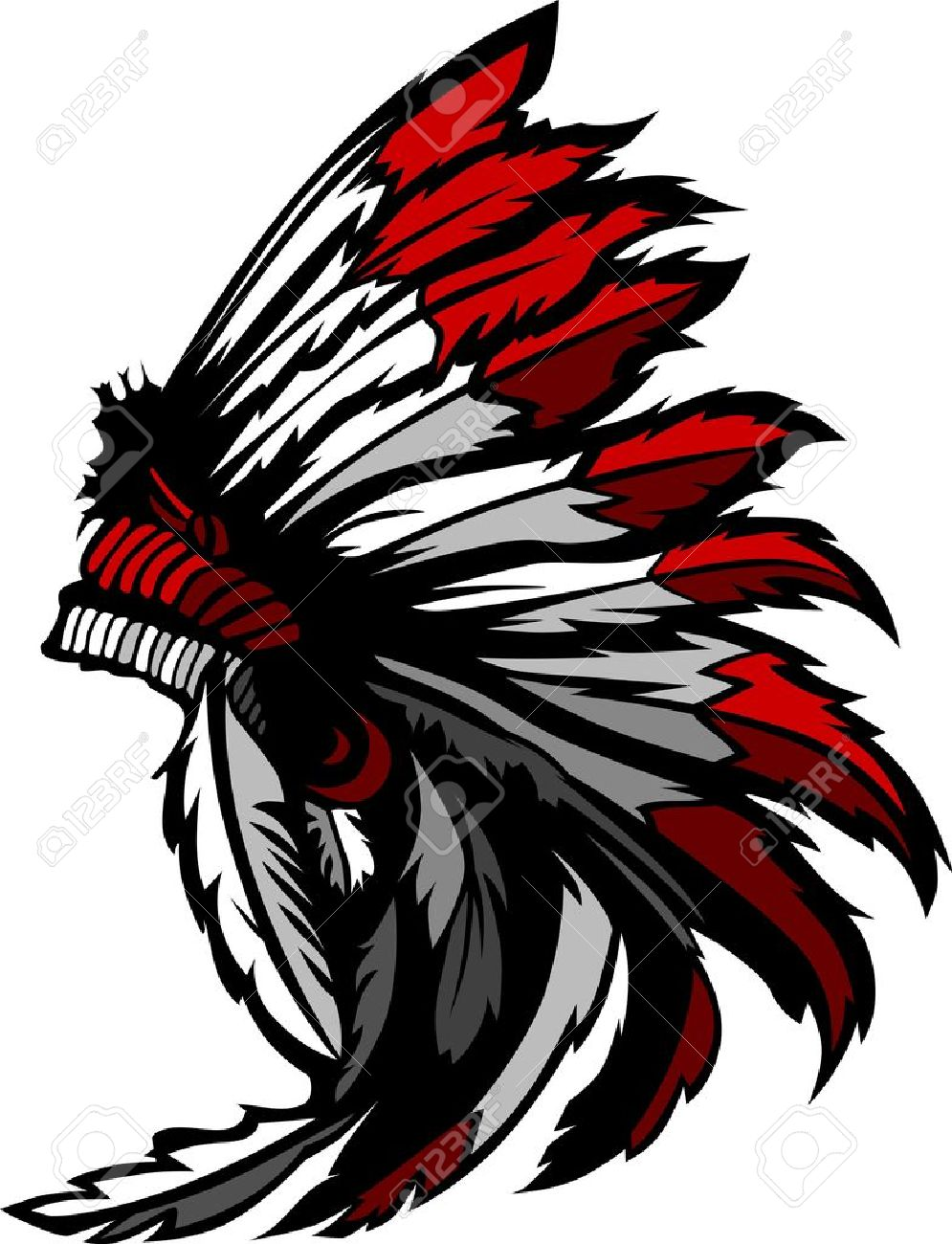 Graphic Native American Indian Chief Headdress Royalty Free Cliparts Vectors And Stock Illustration Image 12497993