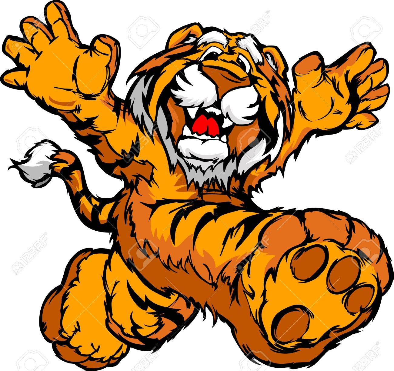 Smiling Tiger Running with hands Mascot  Vector Illustration Stock Vector - 12498000
